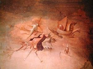 Hieronymous Bosch - Detail of the left-hand panel, from the Triptych of the Temptation of St. Anthony