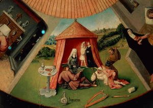 Hieronymous Bosch - Luxury, detail from The Table of the Seven Deadly Sins and the Four Last Things, c.1480