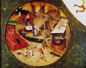 Hieronymous Bosch - Tabletop of the Seven Deadly Sins and the Four Last Things (detail of Hell) c.1480