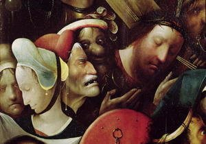 Hieronymous Bosch - The Carrying of the Cross (detail of Christ and St. Veronica)