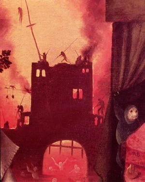 Hieronymous Bosch - Tondal's Vision (detail of the burning gateway)