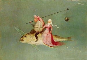 Hieronymous Bosch - The Temptation of St. Anthony, right hand panel (detail of a couple riding a fish)