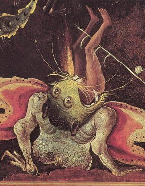 Hieronymous Bosch - The Last Judgement (detail of a man being eaten by a monster) c.1504