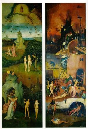Hieronymous Bosch - Paradise and Hell, left and right panels of a triptych