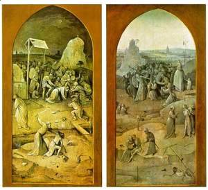 Hieronymous Bosch - Temptation of St. Anthony, outer wings of the triptych