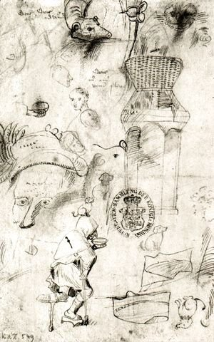 Hieronymous Bosch - Various sketches and a beggar