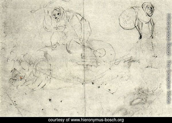 Figure in a beehive and a monsterb (A cursory sketch of two women)