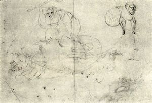 Hieronymous Bosch - Figure in a beehive and a monsterb (A cursory sketch of two women)