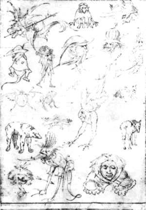 Hieronymous Bosch - Studies of Monsters - 1