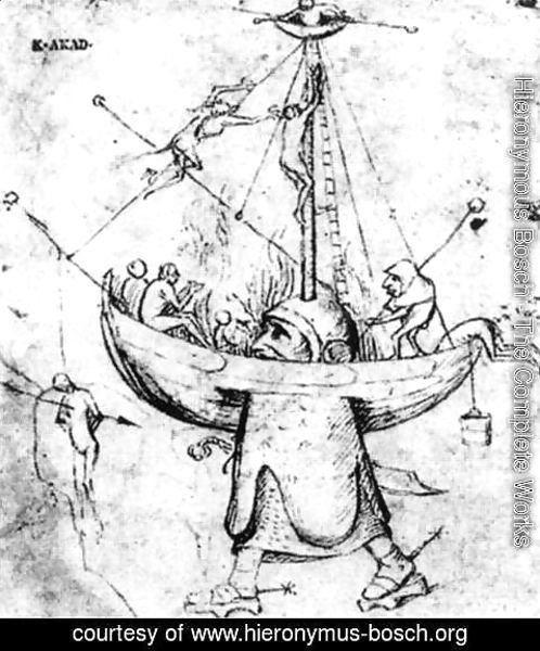 Hieronymous Bosch - The Ship of Fools in Flames