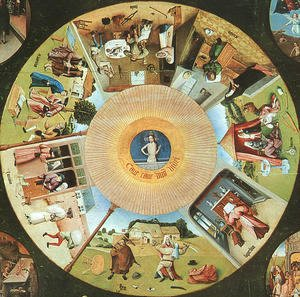 Tabletop of the Seven Deadly Sins and the Four Last Things, (detail of The Eye of God which Sees the Committing of the Seven Deadly Sins)